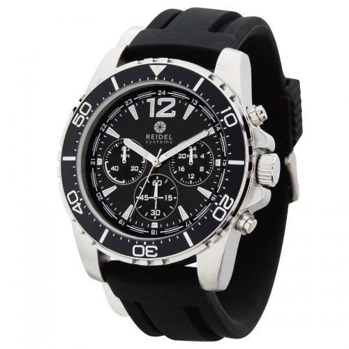 Men's Silver and Silicone Chronograph Watch - large 1