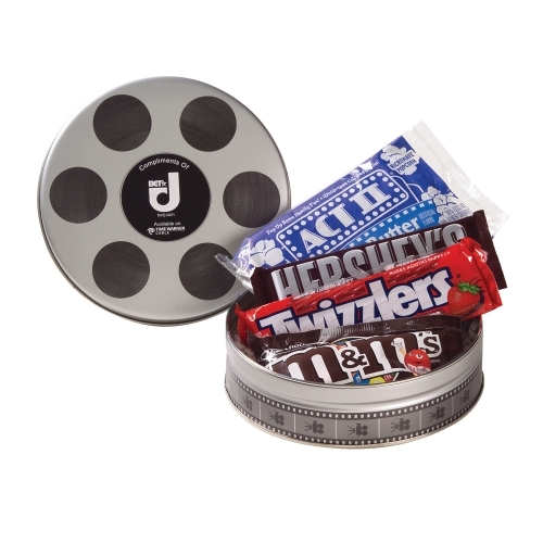 Promotional Film Reel Tin filled with Popcorn & Candy - large 1