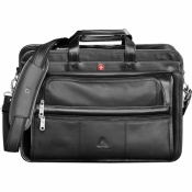 "Wenger® Leather Attache- 12""x  6"" x 16.88"""
