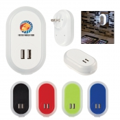 UL Listed Nightlight A/C Adapter with Dual USB Ports