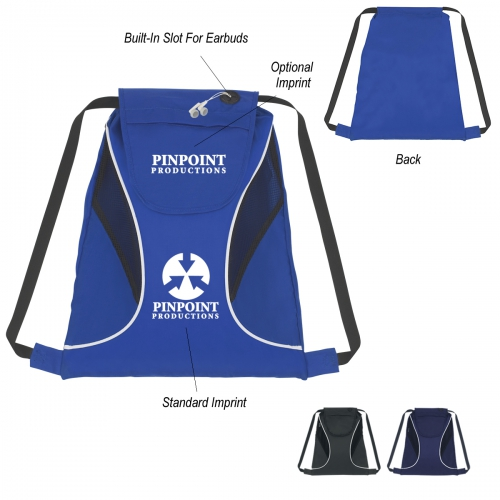 "Sports Cinch Pack With Mesh Sides - 14.5""  x 17"" - large 1"