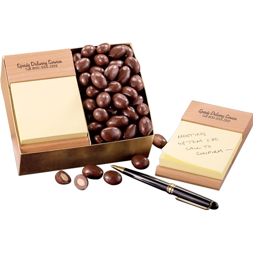 Beech Post-it ® Note Holder with Milk Chocolate Almonds - large 1